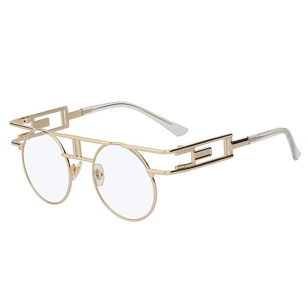 GAMBIT SUNGLASSES-Gold w clear lens-Lensuit-Round Sunglasses-Lensuit