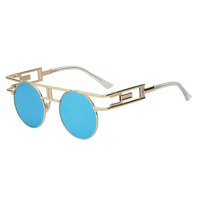 GAMBIT - Gold w blue mirror - Unisex Sunglasses - Round Sunglasses - Crissado