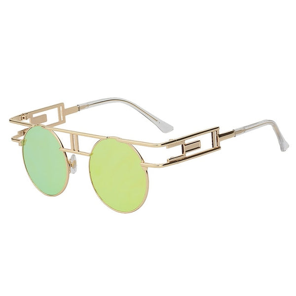 GAMBIT - Gold w lemon mirror - Unisex Sunglasses - Round Sunglasses - Crissado