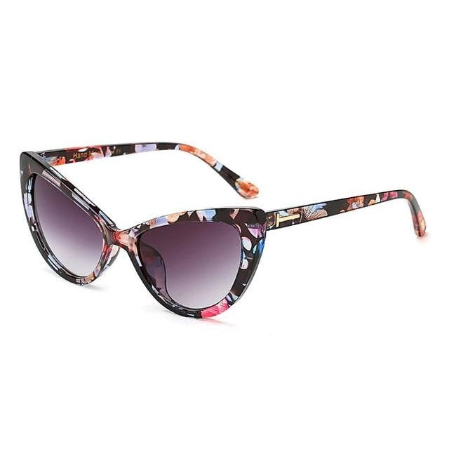Feandra - C3 Floral Gray - Women's Sunglasses - Cat Eye Sunglasses - Crissado
