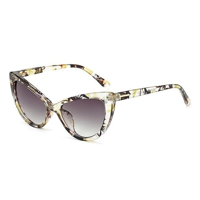 Feandra - C4 YellowFloral Gray - Women's Sunglasses - Cat Eye Sunglasses - Crissado