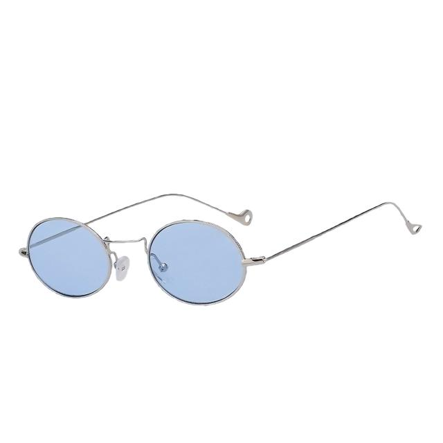 Lorelai - Silver w sea blue - Women's Sunglasses - Round Sunglasses - Crissado