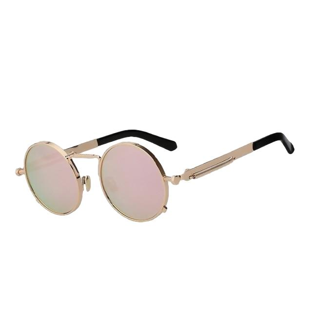Doggax - Gold w pink mir - Men's Sunglasses - Steampunk Sunglasses - Crissado
