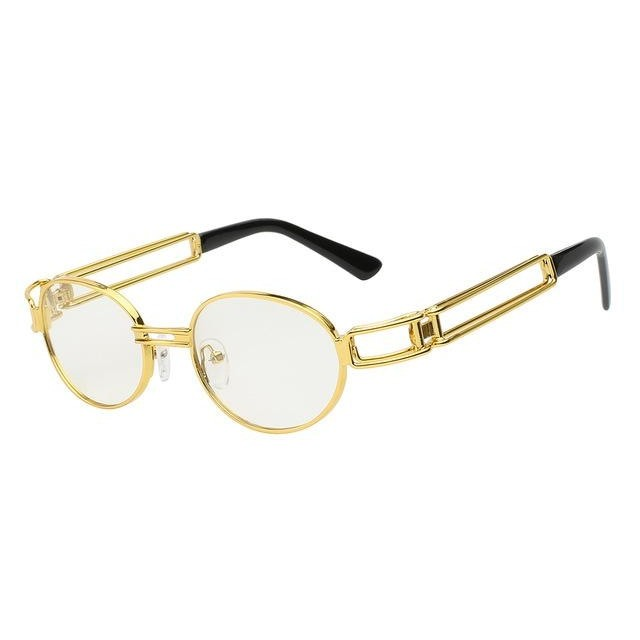 Fanzone Sunglasses-Gold w clear lens-Men's Sunglasses-Round Sunglasses-Lensuit