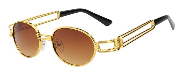 Fanzone - Gold w grad brown - Men's Sunglasses - Round Sunglasses - Crissado