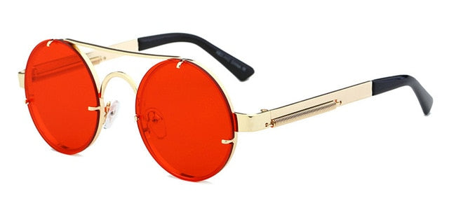 Peekaboo - Gold & Clear Red - Men's Sunglasses - Steampunk Sunglasses - Crissado