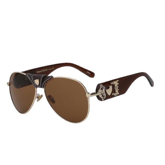 JACQUES - Brown gold w brown - Men's & Women's Sunglasses - Vintage Sunglasses - Crissado