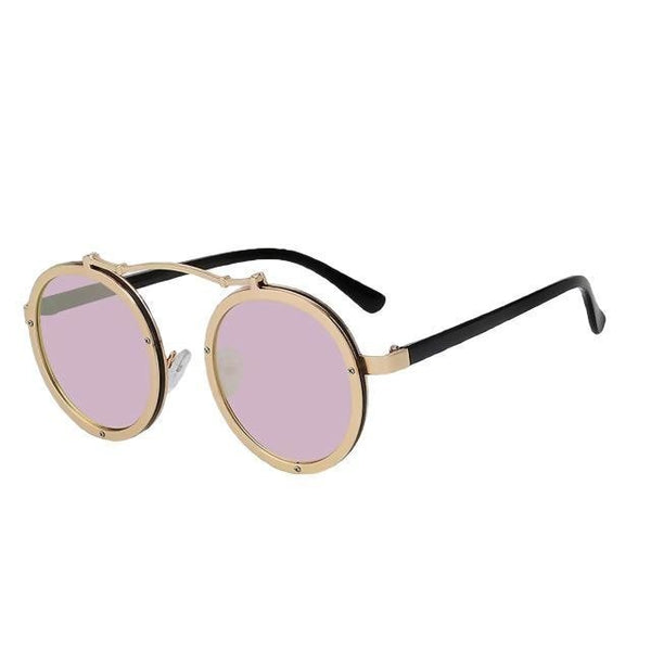 Busyglide - Gold w pink mirror - Men's Sunglasses - Steampunk Sunglasses - Crissado