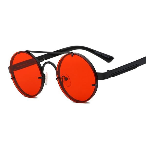 Peekaboo - Black & Clear Red - Men's Sunglasses - Steampunk Sunglasses - Crissado
