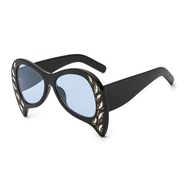 Foxclore Sunglasses-C2 Black Blue-Women's Sunglasses-Cat Eye Sunglasses-Lensuit