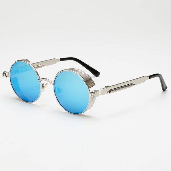 Jacob Vintage - Blue & Silver - Men's Sunglasses - Round Sunglasses - Crissado
