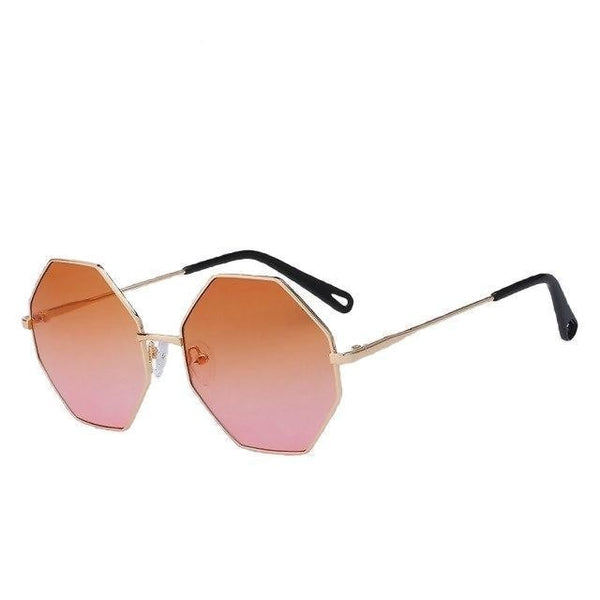 Burder - Gold w orange pink - Men's & Women's Sunglasses - Round Sunglasses - Crissado