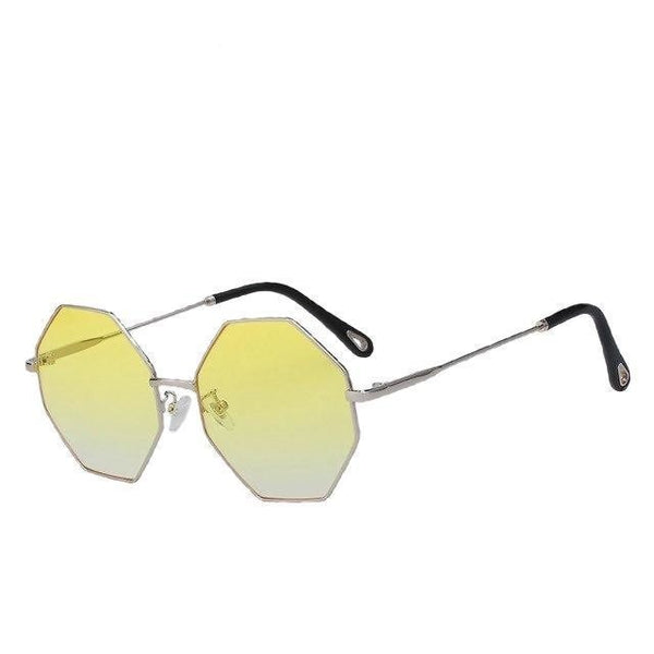 Burder - Silver w yellow blue - Men's & Women's Sunglasses - Round Sunglasses - Crissado