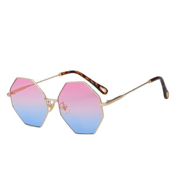 Burder - Gold w pink blue - Men's & Women's Sunglasses - Round Sunglasses - Crissado