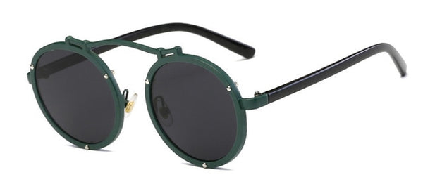 Vallume - Black Leg Green - Women's Sunglasses - Round Sunglasses - Crissado