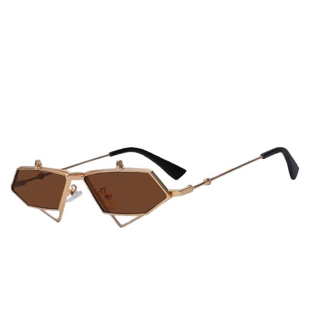 Fluffster - Gold w brown - Men's & Women's Sunglasses - Steampunk Sunglasses - Crissado