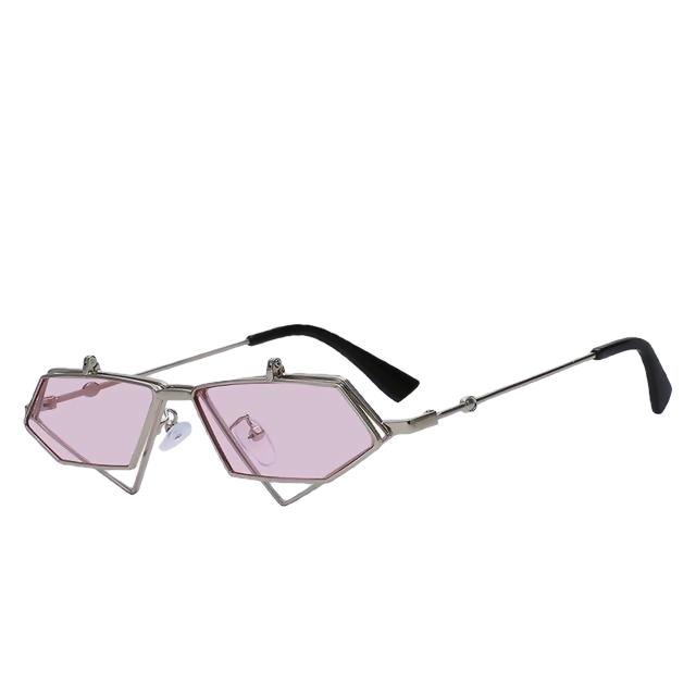 Fluffster - Silver w sea pink - Men's & Women's Sunglasses - Steampunk Sunglasses - Crissado