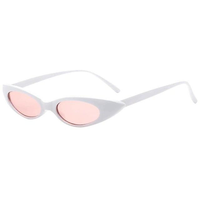 Lilo - White l Pink Lenses - Women's Sunglasses - Cat Eye Sunglasses - Crissado