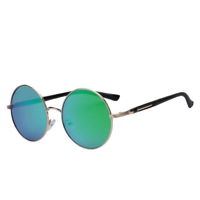 Zelco - Gold w green mirror - Women's Sunglasses - Round Sunglasses - Crissado