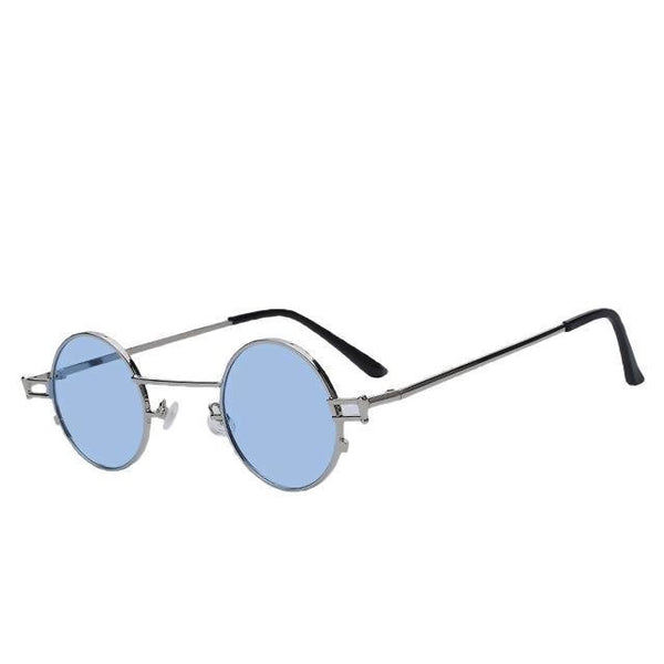 Shorogyt - Silver w sea blue - Unisex Sunglasses - Round Sunglasses - Crissado