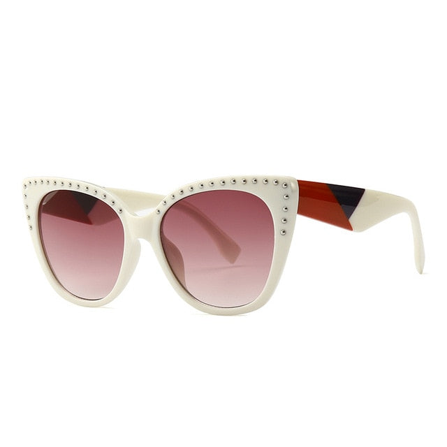 Pounit Sunglasses-C5 White. Brown-Men's & Women's Sunglasses-Cat Eye Sunglasses-Lensuit