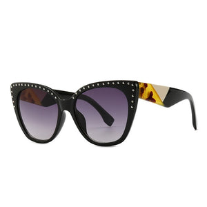 Pounit Sunglasses-C1BlackLens.WhiteLeg-Men's & Women's Sunglasses-Cat Eye Sunglasses-Lensuit