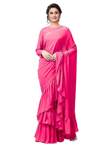 Best Collection  Pink Color Lycra satin blouse ruffle work Designer Saree