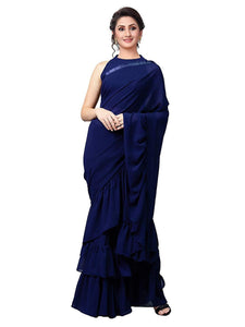Best Collection Blue Color georgette blouse ruffle work Designer Saree