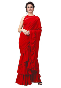Best Collection Red Color Georgette Febric blouse  Designer Saree