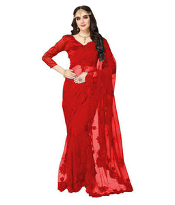 Best Collection Red Color net satin blouse Embroidery work Designer Saree