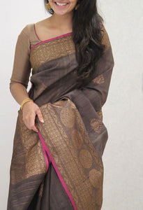 Exclusive Mocha Wedding Wear Soft Silk Saree With Blouse