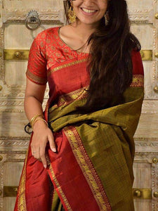 Unique Olive Colored Wedding Wear Soft Silk Saree