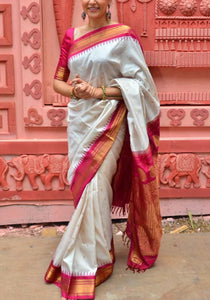 Traditional White Wedding Wear Soft Silk Saree With Blouse