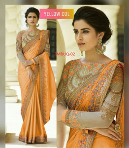 Flaunt Yellow Wedding Wear Embroidery Saree With Blouse