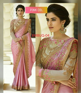 Surpassing Pink Wedding Wear Embroidery Saree With Blouse