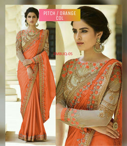 Flaunt Peach-Orange Wedding Wear Designer SareeWith Blouse