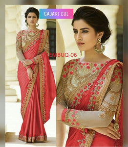 Flaunt  Wedding Wear Embroidery Designer Saree With Blouse