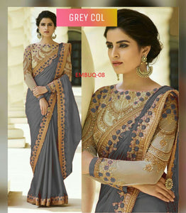 Fantastic Grey Colored Wedding Wear Designer Saree With Blouse