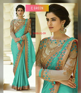 Amazing Green Wedding Wear Embroidery Saree With Blouse