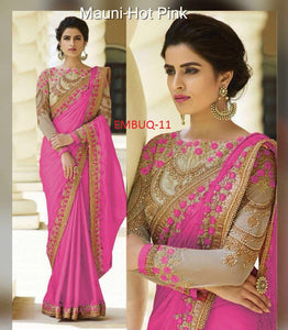 Traditional Pink  Wedding Wear Designer Saree With Blouse