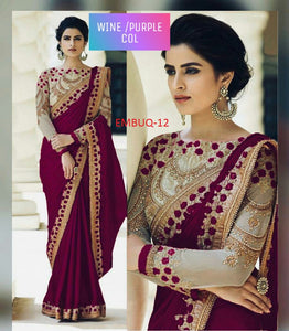 Traditional Wine Purple Wedding Wear Designer  Saree With Blouse