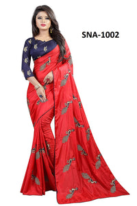 Exclusive Red Color Soft Silk Designer Embroidery Work Saree With Blouse