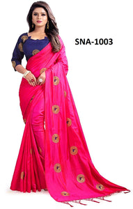 Fantastic Pink Colored Wedding Wear Soft Silk Saree With Blouse