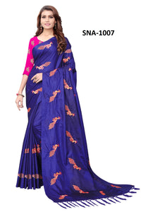 Exclusive Blue Color Wedding Wear Embroidery Work Soft Silk Saree With Blouse