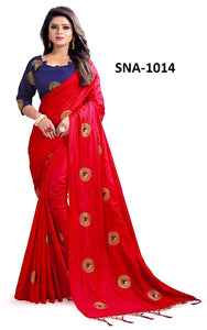 Fantastic Red Colored Wedding Wear Embroidery Work Soft Silk Saree With Blouse