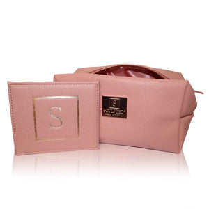Pink Faux Leather Makeup Bag