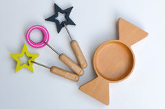Beautiful wooden eco bubble wands/ toy set with tray