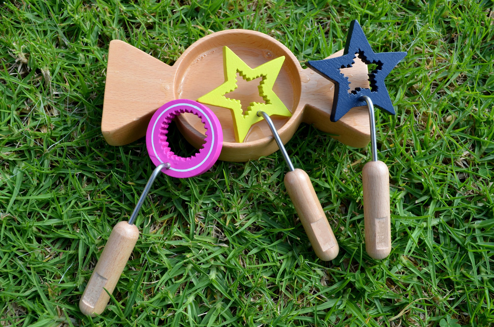 Beautiful wooden eco bubble wands/ toy set with tray - Bubble Inc