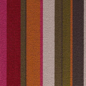 Crimson Ruby Amber coloured 100% Wool Stripe Carpet