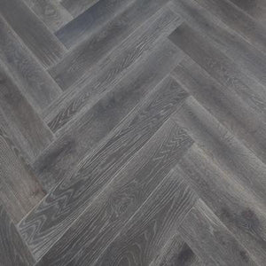 smoked brushed grey oil engineered oak herringbone